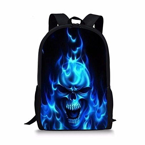 Lightweight Cool Skull Printed School Backpack Water Resistant Travel Rucksack Bag Cool Blue Fire Flame Halloween Laptop Backpack Daypack,17 -
