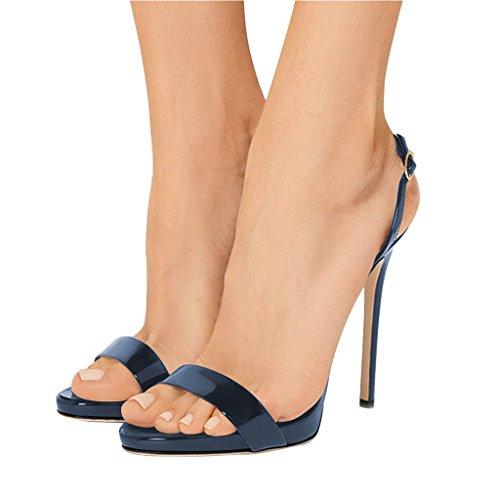 FSJ Women Sexy High Heel Stiletto Sandals Ankle Strap Slingback Open Toe Evening Shoes Size 8 Navy