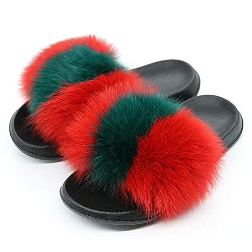 High end Women Fox Fur Slippers Slides Female Furry Indoor Flip Flops Casual Beach Plush -