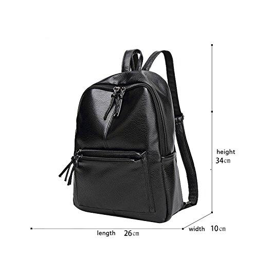 Sunas Nuevas señoras bandolera de agua de ocio lavado de la piel bolsas de estudiantes de moda de moda Lingge mochila de viaje de gran capacidad negro