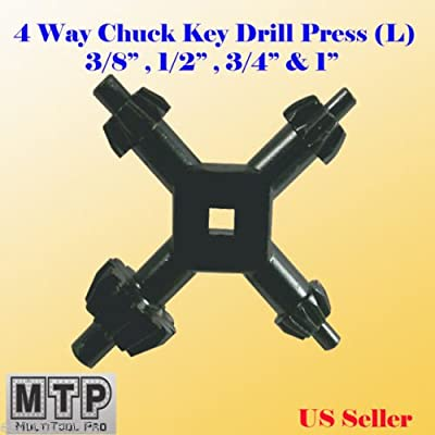 "MTP Large 4 Way Chuck Key Drill Press 3/8"", 1/2"", 3/4"" & 1"" Universal Combination #6 , #7, #8, #9, Chuck size:3/8"" (10mm) , 1/2"" (13mm) , 3/4"" (19mm) and 1"" (25mm)"