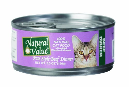 Natural Value Cat Food, Pate Style Beef Dinner, 5.5-Ounce Cans (Pack of 24), My Pet Supplies