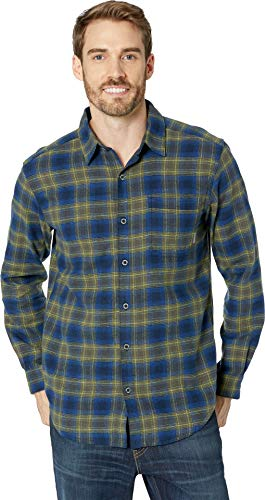 Columbia Men's Boulder Ridge Long Sleeve Flannel Collegiate Navy Pop Plaid ()
