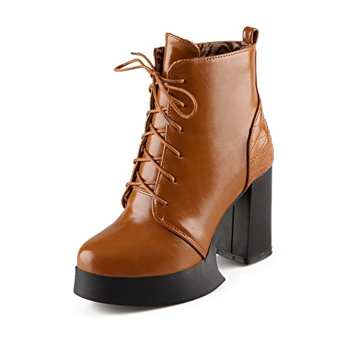 AdeeSu Womens Platform Solid Round Toe Imitated Leather Boots Brown JZPPkN