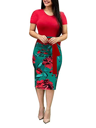 Misses Special Occasion Dresses - Women' Short Sleeve Bodycon Dress -Cute Bowknot Floral Pencil Dress Medium Red and Green