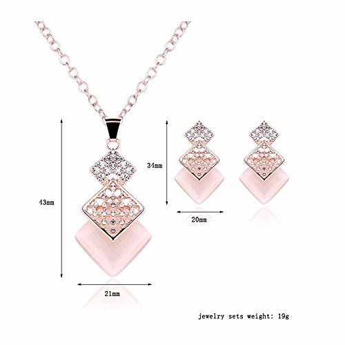 - New-Rose-Gold-Plated-Crystal-Pink-Opal-Cube-Drop-Jewelry-Sets-Necklace-Earrig By Wats