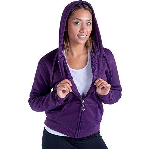 Tanbridge Women's Heavyweight Sherpa Lined Fleece Hoodies Solid Jacket Hooded Sweatshirts (Purple,M) (Hoodie Lined Sherpa Women)