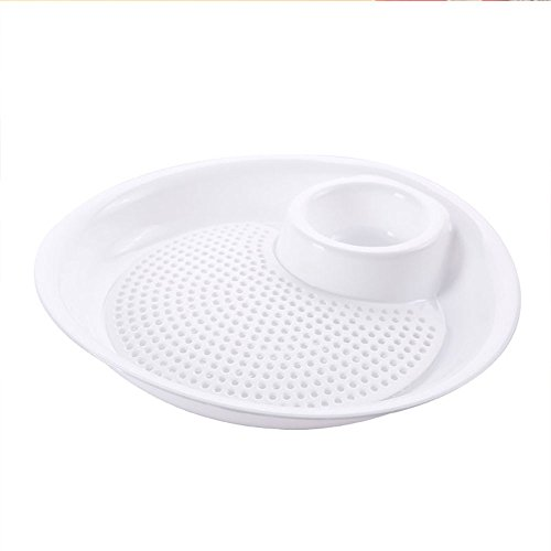 Double Layer Drain Dumplings Dish Wheat Straw Fruit Tray Food Container Fan Shaped Plate drain tray Easy To Drain White