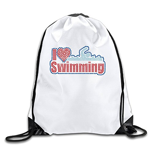 I Love Swimming 100% Polyester Fiber Drawstring Backpack Bag One Size