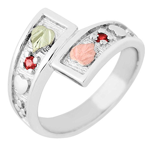 (2MM Synthetic Ruby Black Hills Gold Sterling Silver Bypass Ring from Landstroms - Size)