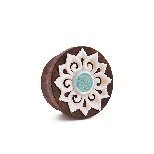 Elementals Organics Sono Wood Plug for Ear - Turquoise Inlaid Mother of Pearl Flower, 16mm, 5/8 Inch, Price Per 1 Earring (Sonos 1 Best Price)