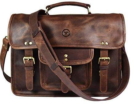 15'' Vintage Handmade Leather Messenger Satchel Bag | Briefcase Bag By Aaron Leather