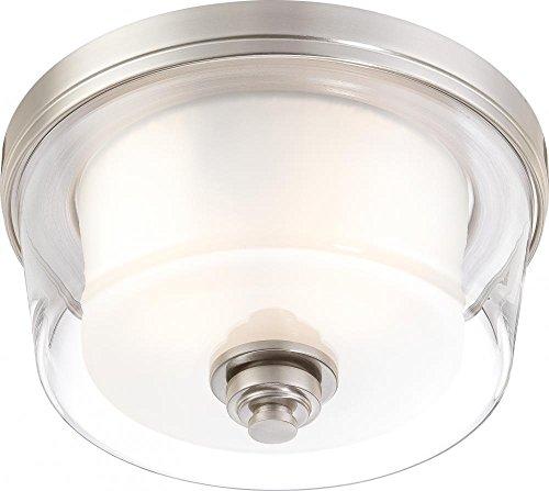 (Nuvo Lighting 60/4651 Two Light Flush Mount, Pwt, Nckl, B/S, Slvr.)