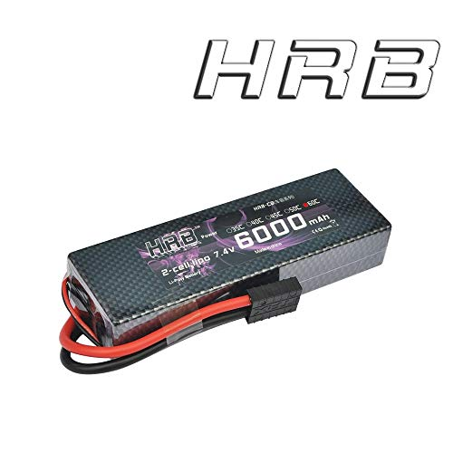 HRB 2S RC Lipo Battery 7.4V 6000MAH 60C HardCase with Traxxas TRX Plug for 1:8 Scale RC Car, RC Airplane, RC Helicopter, RC Boat (7.4v 6000mAh TRX)