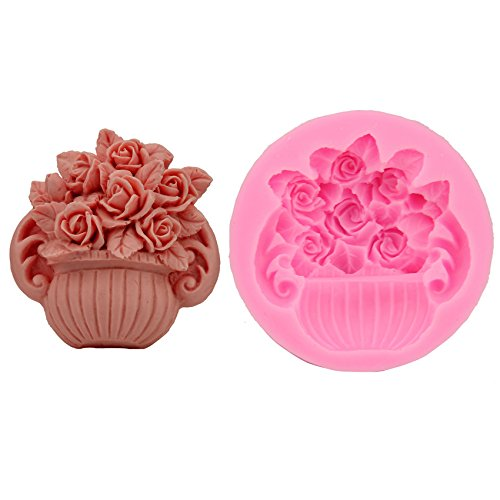 Let'S Diy Rose Pot Plant Chocolate Silicone Moulds Fondant Jelly Jello Ice Sugar Soap Molds Sugarcraft Cookware Cake Tools for $<!--$7.71-->