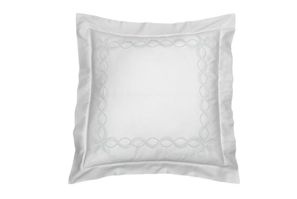 Dea Diana Embroidery Sateen Pillow Sham, Euro, Ivory/Aqua