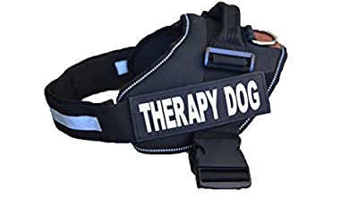 ALBCORP Therapy Dog Vest Harness with 2 Reflective - Removable Velcro Patches and Adjustable Chest Strap Sm - M - L - XL-XXL size Black/Red color