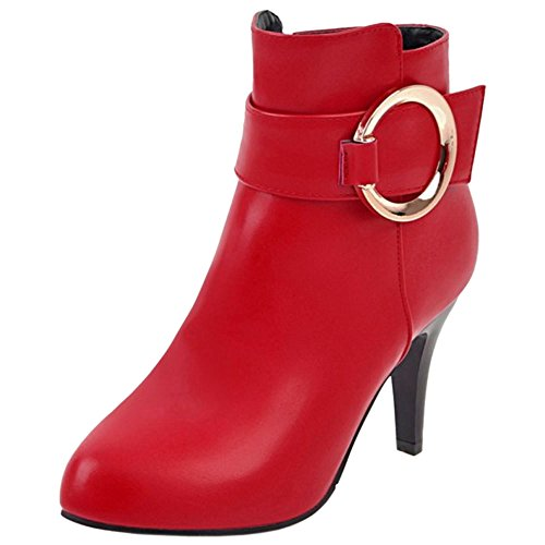 COOLCEPT Damen Stiefel Side Zipper Red