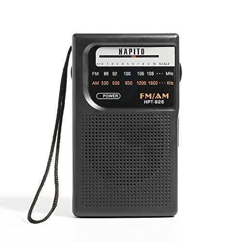 (Portable Pocket Transistor Radio Battery Operated AM/FM Radio - Best Reception, Longest Lasting, Built-in Speaker and 3.5mm Headphone Jack for Walking Hiking Camping (Black))
