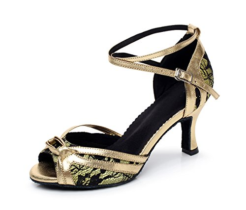 Minishion Womens Peep Toe Buckle Lace Latin Dance Shoes Green 6m8Qu