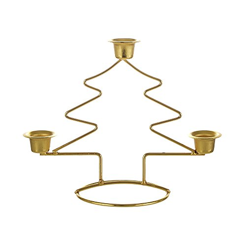 Mega Candles - Christmas Tree Taper Metal Candle Holder - Gold by Mega Candles