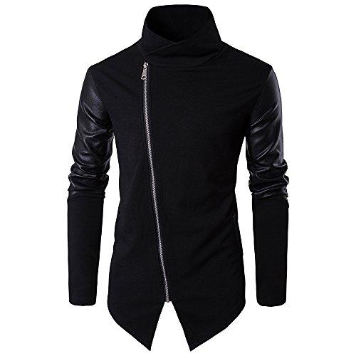 Sweaters Pullover Men's PU Cotton Stitch Turtleneck Zipper Knit Sweater Oblique Line Bottom Edge - Knit Edge Stitch