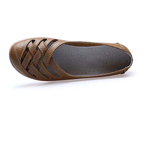 Oriskey Mocasines de cuero mujer Loafers Casual Zapatos Zapatillas marrón