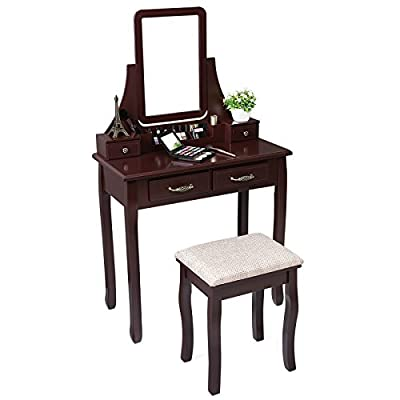 SONGMICS Vanity Makeup Table Set with Mirror and Stool Dressing Table 6 Organizers 4 Drawers