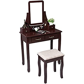 SONGMICS Vanity Table Set With Mirror 2 Large Sliding Drawers Makeup  Dressing Table With Stool 6