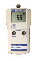 Milwaukee MW100 LED Economy Portable pH Meter with Manual Calibration, 0.0 to 14.0 pH, +/-0.2 pH Accuracy, 0.1 pH Resolution