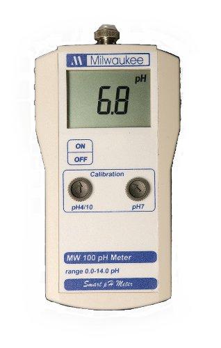Milwaukee MW100 LED Economy Portable pH Meter with Manual Calibration, 0.0 to 14.0 pH, -0.2 pH Accuracy, 0.1 pH ()