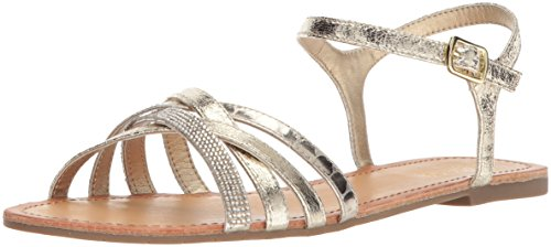 Kenneth Cole REACTION Women's Just New Criss Cross Ankle Straps Flat Sandal, Gold, 8.5 M US (Cole Shoes Kenneth Just)