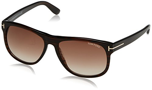 Tom Ford Unisex TF 236 Olivier 50P Striped Brown Soft Square Plastic Sunglasses