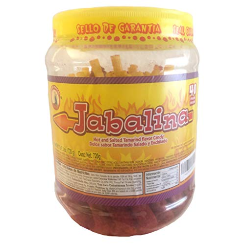 Jabalina Hot and Salted Tamarind Flavor Candy, 40 Ready-to-Eat Pieces