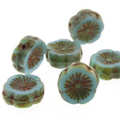 Carved Flower Beads - Czech Glass Beads Carved Hawaiian Flower Beads 12mm Blue Turquoise