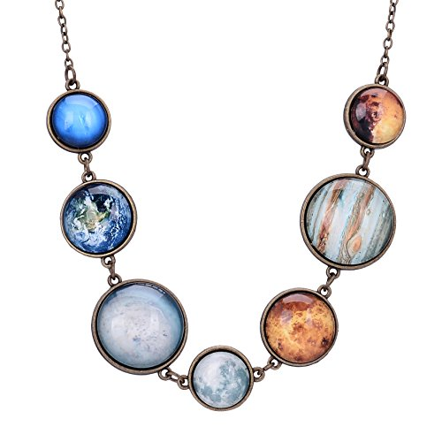 QILMILY Handmade Full Moon Necklace Double-face Planet Necklace Sun Moon Necklace Statement Jewelry Space Necklace ()