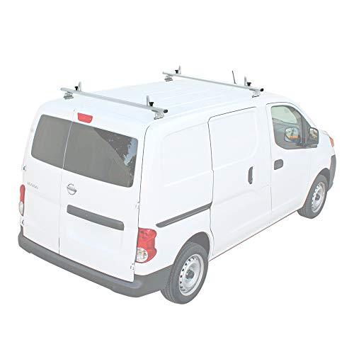 "AA-Racks Model AX312-NV Compatible Nissan NV200(2013-On) Aluminum 2 Bar (60"") Van Roof Rack System w/Ladder Stopper White"