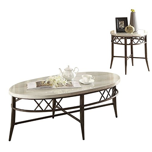 ACME Furniture 83100 Aldric 3 Piece Coffee End Set, Faux - Tables Antique Marble