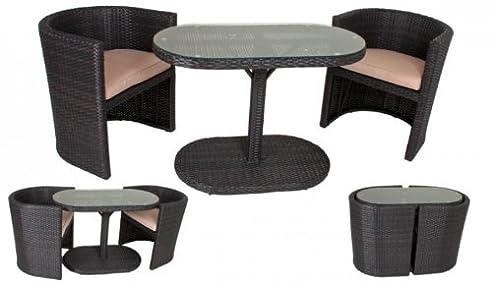 Amazon.de: 6tlg. Rattan Garten Sitzgruppe Porto Tisch + Sessel ...