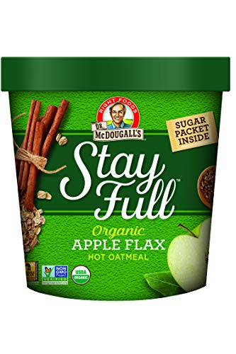 Dr. McDougall's Right Foods Stay Full Organic Apple Flax Oatmeal, 2.3 Ounce Cups (Pack of 6) Vegan, USDA Organic, Whole Grain, Non-GMO; Cups From Certified Sustainably-Managed Forests