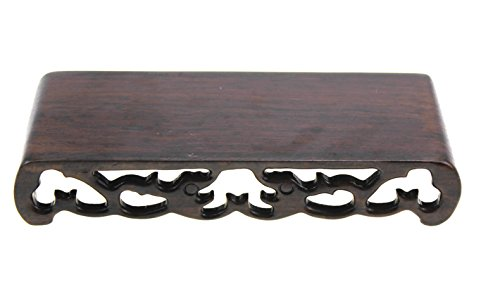 Oriental Furniture Chinese Black Rosewood Solid Mahagony Ebony Wood Display Stand Wooden Base Rectangle Rectangular Shape Pedestal with Carved (S -