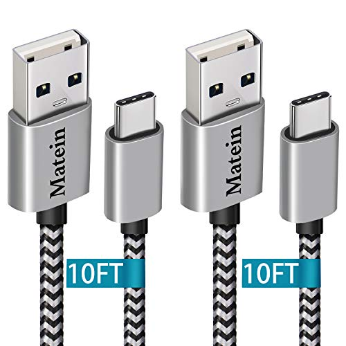 Samsung Galaxy S9 Plus Charging Cable, Extra Long USB Type C Cable (10Ft 2 Pack),Nylon Braided Fast Charger Cord for Google Pixel 3/2 XL, Galaxy S9 S8 Note 8,LG V40/G7/G6,OnePlus 6T,Moto X/G6/Z2