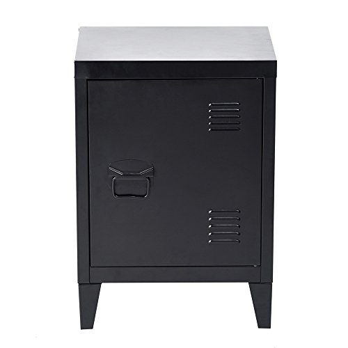 HouseinBox Low Standing Locker Organizer Side End Table Office File Storage Metal Cabinet Cupboard Unit Detachable 4 Legs,Size:15.9'' x 12'' x 22.6'' (Black)