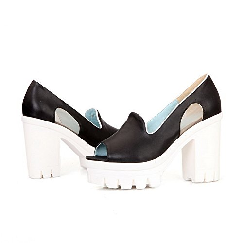AmoonyFashion Womens Peep-Toe High-Heels Soft Material Solid Pull-on Sandals Black TXWakB