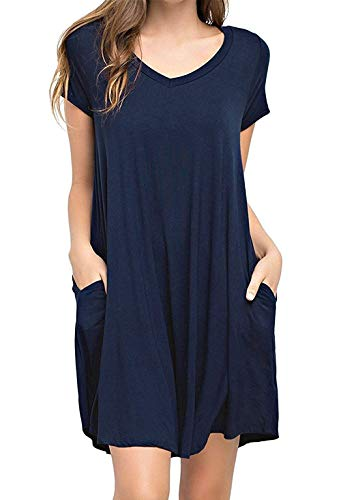0839d37db Amytrade Womens Loose T-Shirt Dress with Pocket Short Sleeve Swing Tunic  Long Top (Navy, XXX-Large)