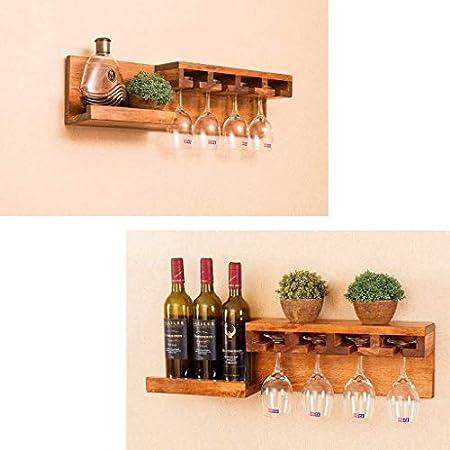 Estantería de vino Soporte for botellas de vino de madera de pino con soporte de pared y botellero Botellero de vidrio colgante Soporte for botellas de vino Estante for tabletas Almacenamiento for res