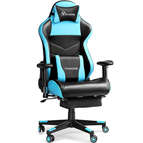 YITAHOME-Gaming-Chair-Ergonomic-Racing-Style-High-Back-PC-Computer-Game-Chair-Big-and-Tall-Reclining-Adjustable-Swivel-Massage-Office-Desk-Chair-with-Footrest-Light-Blue