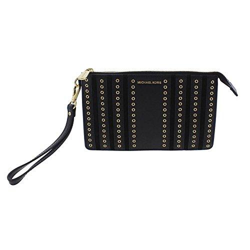Michael Kors Brooklyn Leather Grommet Wristlet Handbag Black Small
