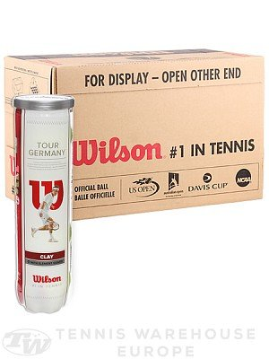 Wilson Tour Germany DTB Lot de 3 tubes de 4 balles de tennis pour terre battue Wilson-Tennis