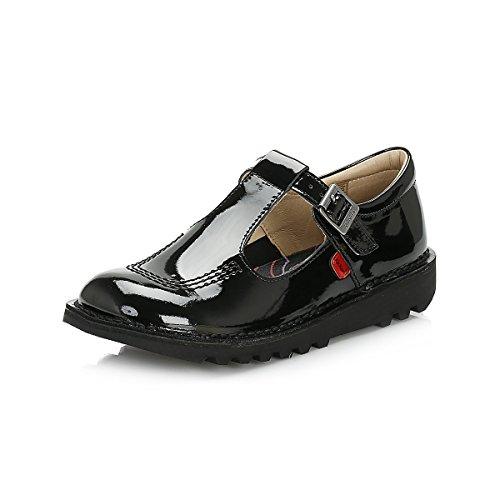 T Bar Cuir Patent Kick Jeunes Noir Kickers Chaussures zwtqZ8t